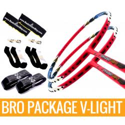 Bro Package V-LIGHT : 2 pieces Apacs Virtuoso Light RED + 2 pieces Karakal grips + 2 Velvet covers + 2 pairs socks