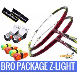 Bro Package Z-LIGHT: 2 pieces Abroz Nano Power Z-Light 6U Badminton Racket + 4 pieces Abroz PU Grips + 2 Velvet covers + 2 pairs socks