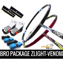 Bro Package ZLIGHT-VENOM: Abroz Z-Light + Abroz Venom Badminton Rackets + 4 pieces Abroz PU Grips + 2 Velvet covers + 2 pairs socks