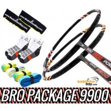Bro Package 9900: Apacs Nano 9900 (4U) + Abroz Nano 9900 Power (5U) Badminton Rackets + 4 pieces Abroz PU Grips + 2 Velvet covers + 2 pairs socks