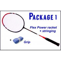 Beginners Badminton Set / package 1 :  Flex Power Badminton Racket + Stringing + Grip
