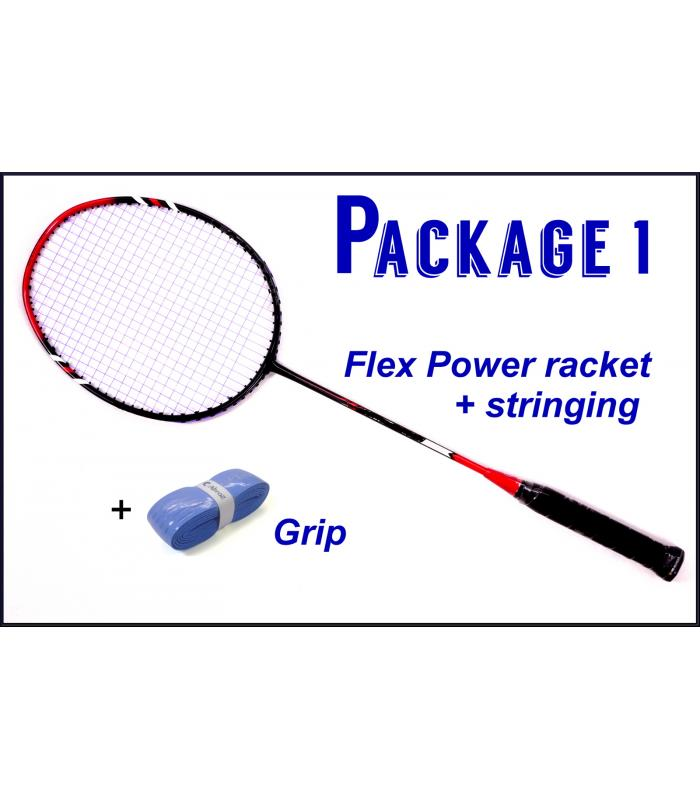 Beginners Badminton Set / package 1 :  Flex Power Badminton Racket + Stringing + Grip