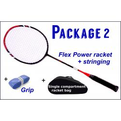 Beginners Badminton Set / package 2 :  Flex Power Badminton Racket + Stringing + Grip + Single Compartment Bag
