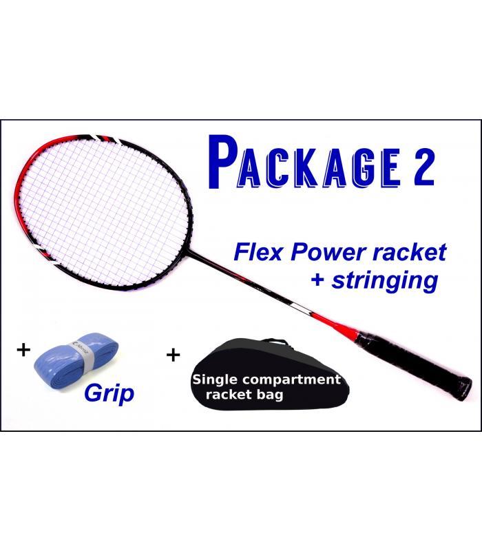 Beginners Badminton Set / package 2 :  Flex Power Badminton Racket + Stringing + Grip + Single Compartment Bag