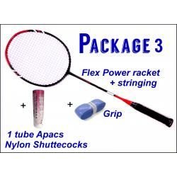 Beginners Badminton Set / package 3 :  Flex Power Badminton Racket + Stringing + Grip + 1 tube Apacs Aero-Space 800 Nylon Shuttlecocks