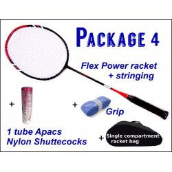Beginners Badminton Set / package 4 :  Flex Power Badminton Racket + Stringing + Grip + 1 tube Apacs Aero-Space 800 Nylon Shuttlecocks + Single Compartment Bag