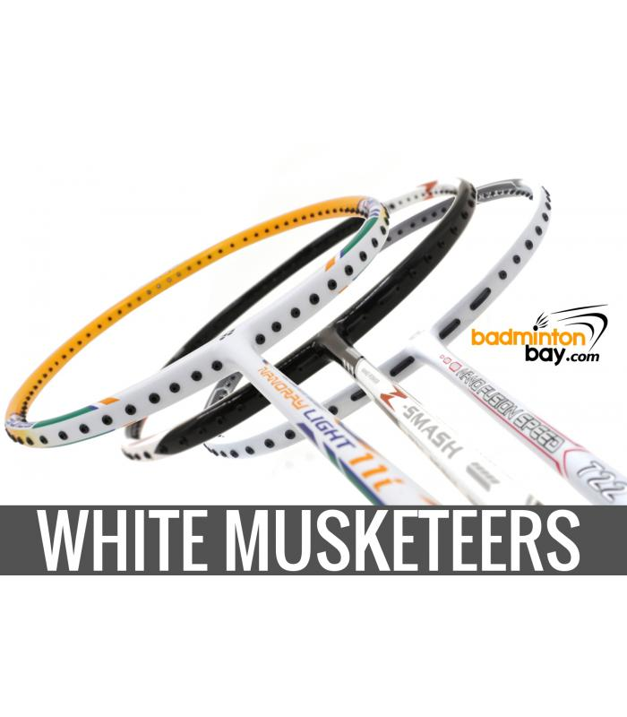 White Musketeers (3 Rackets):1x Abroz Nano Power Z-Smash, 1x Apacs Nano Fusion Speed 722 White ,1x Yonex - Nanoray Light 11i iSeries Badminton Rackets