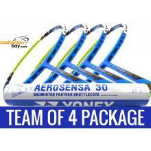 Team Package: 1 Tube Yonex AS30 Shuttlecocks + 4 Rackets - Apacs Virtuoso Light Blue Green Badminton Racket