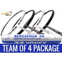 Team Package: 1 Tube Yonex AS30 Shuttlecocks + 4 Rackets - Apacs Nano Fusion 722 Speed (2 in Black, 2 in White)  Badminton Racket