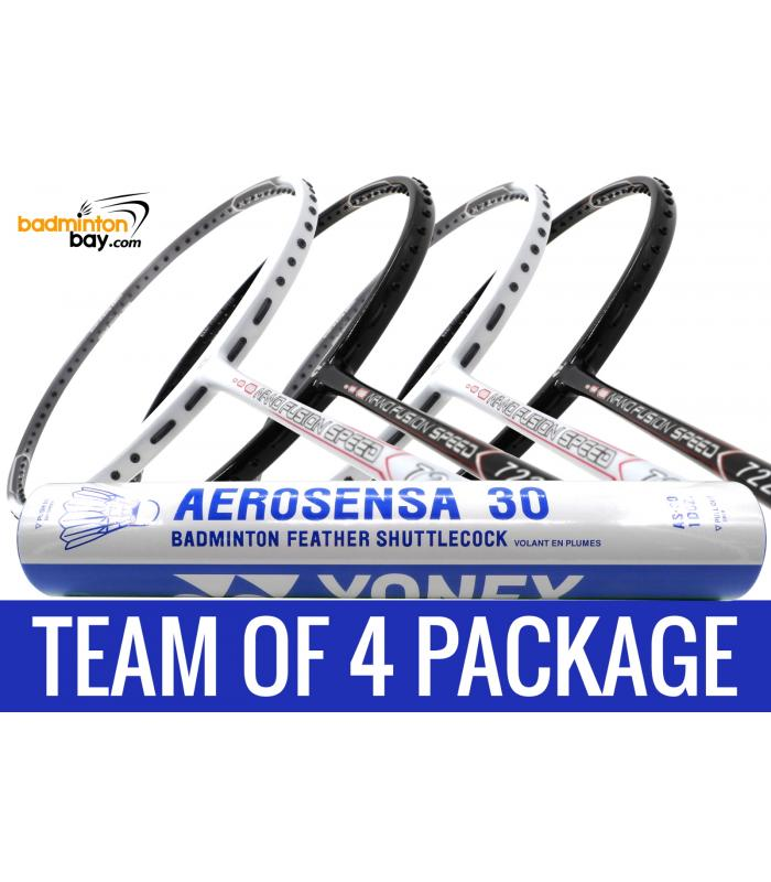 Team Package: 1 Tube Yonex AS30 Shuttlecocks + 4 Rackets - Apacs Nano Fusion 722 Speed (2 in Black, 2 in White)  Badminton Racket