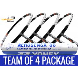 Team Package: 1 Tube Yonex AS30 Shuttlecocks + 4 Rackets - Abroz Nano Power Z-Smash 6U Badminton Racket