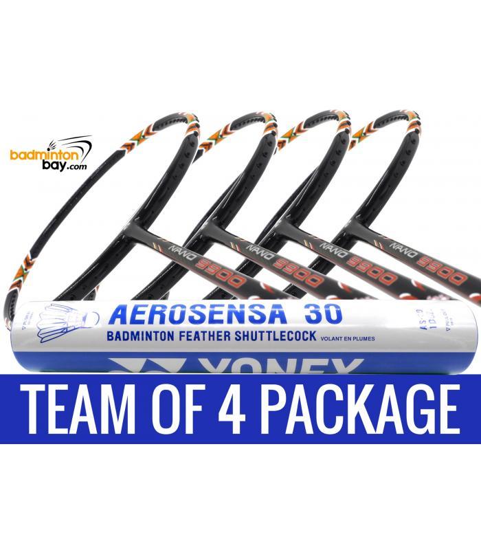 Team Package: 1 Tube Yonex AS30 Shuttlecocks + 4 Rackets - Apacs Nano 9900 Badminton Racket