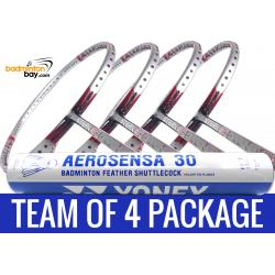 Team Package: 1 Tube Yonex AS30 Shuttlecocks + 4 Rackets - Apacs Stern 90 Offensive 6U Badminton Racket