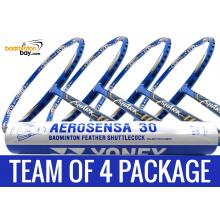 Team Package: 1 Tube Yonex AS30 Shuttlecocks + 4 Rackets - Abroz Shark Tiger 6U Badminton Racket