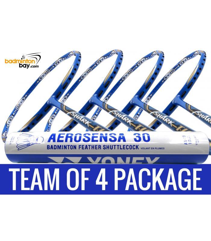 Team Package: 1 Tube Yonex AS30 Shuttlecocks + 4 Rackets - Abroz Shark Tiger 6U Badminton Racket