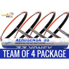 Team Package: 1 Tube Yonex AS30 Shuttlecocks + 4 Rackets - Flex Power Nano Tec Z Speed Badminton Racket