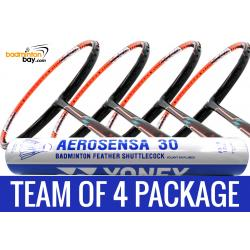Team Package: 1 Tube Yonex AS30 Shuttlecocks + 4 Rackets - Flex Power Nano Tec Z Speed Badminton Racket