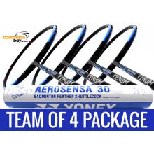 Team Package: 1 Tube Yonex AS30 Shuttlecocks + 4 Rackets - Abroz Nano Power Venom 6U Badminton Racket