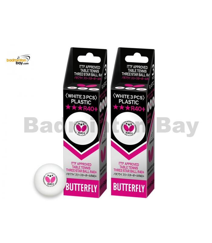 Butterfly 3-Star R40+ Plastic Table Tennis Ping Pong White Ball 40mm (6 Balls)