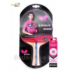Butterfly Addoy 3000 FL Shakehand Table Tennis Racket Ping Pong Bat With A40 Balls