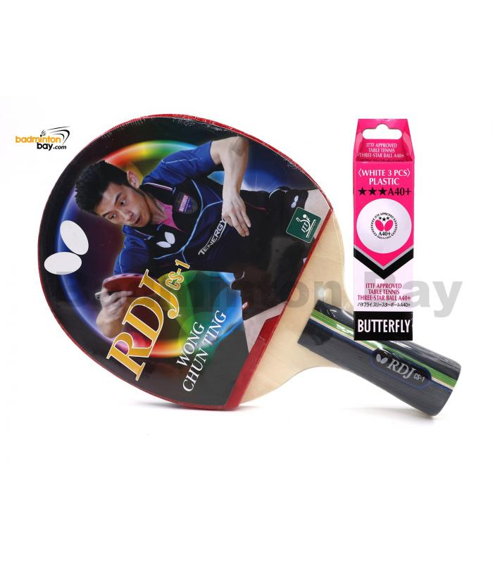 Butterfly RDJ-CS1 Penhold Table Tennis Racket Ping Pong Bat (One Side Rubber) With A40 Balls