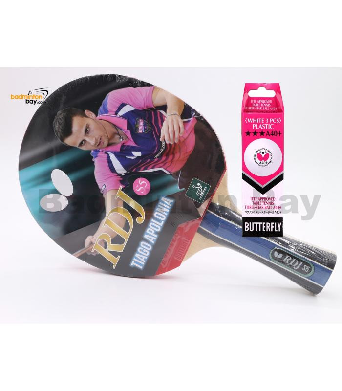 Butterfly RDJ-S5 FL Shakehand Table Tennis Racket Ping Pong Bat With A40 Balls