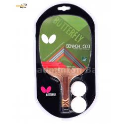 Butterfly Senkoh 1500 Penhold Table Tennis Racket with Rubber (One Side Rubber) and 2 Balls
