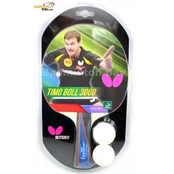 Butterfly Timo Boll 3000 FL Shakehand Table Tennis Racket with 2 balls